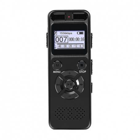 Dictaphone Professional 8-16 GB Black - This digital voice recorder guarantees you a good recording quality with the AGC functi
