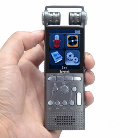 Digital voice recorder with double microphone - This digital recorder has the noise reduction function which ensures the good q