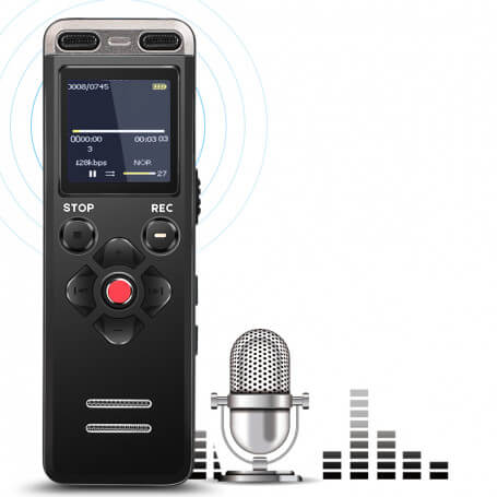 Compact portable professional digital Dictaphone - Professional digital voice recorder, 8-16-32 GB internal memory, possibility