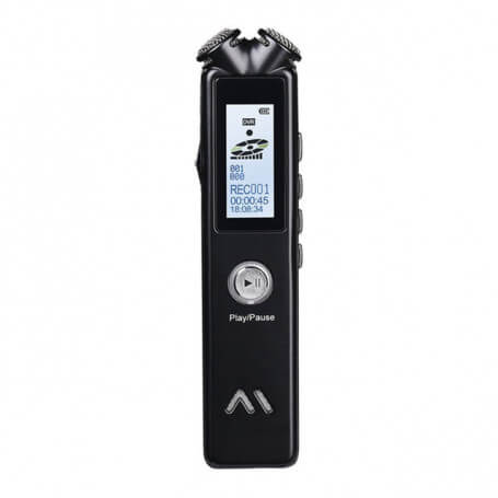 Dictaphone with dual microphones 360 degrees - This miniature dictaphone has a large memory capacity and a long battery life. W