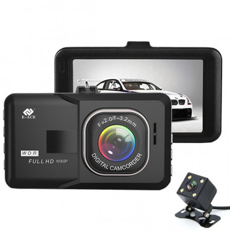 Dash cam double lens Full HD - This dash cam has a dual purpose, providing a shooting on the conduct and good visibility on wha