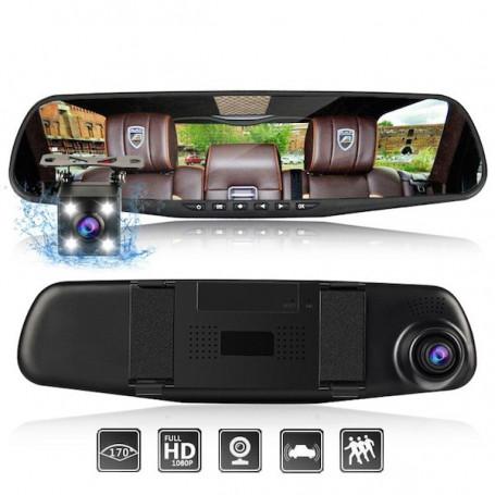 Double caméra embarquée rétroviseur voiture full HD