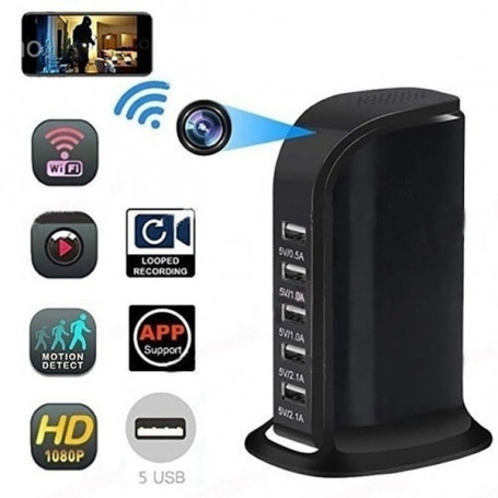 Chargeur caméra Full HD Wifi 5 ports usb