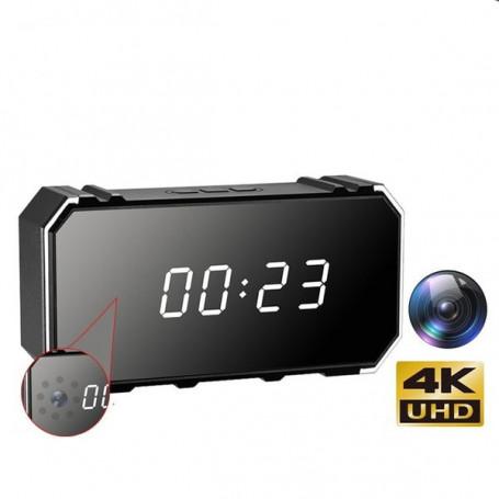 Ultra HD 4K Wifi Visión Infrarroja Espía Cámara Despertar - Reloj despertador de la cámara espía
