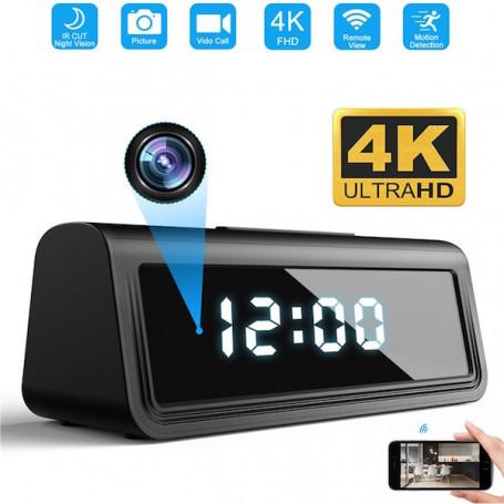 4K wifi cámara de visión remota despertador con detector de movimiento - Reloj despertador de la cámara espía