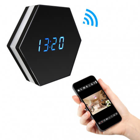 Clock with mini Full HD Wifi IP camera - Clock spy camera Full HD Wifi 1080 p, motion detection, infrared vision with 6 Led col