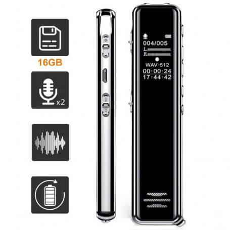 Dictaphone numérique professionnel - Ce dictaphone numérique professionnel a une capacité de 8 et 16 GB pour un t