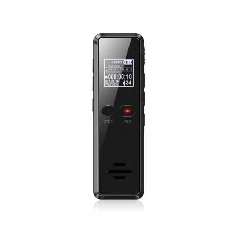 Black compact digital voice recorder - This digital voice recorder is both a voice recorder and a music player. It offers more